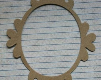 """3 Bare Chipboard Long Oval Frame Die cuts 4 5/8"""" wide x 6 3/4"""" tall"""