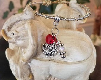 Guitar String Bracelet with Rose & Heart Charms