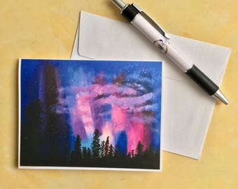 Galaxy Note Card - Northern Lights Note Card - Nature Card - Art Card - All Occasion Note Card - Aurora Borealis Card