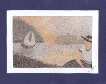 Natural sand painting 18x24 cm Lady and boat 3