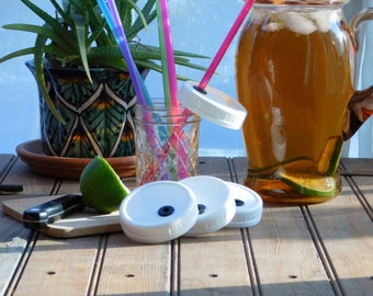 The Original 4 PACK Reusable Small Mouth Ball Mason Jar ToGo Travel Cup Lids With Straws BPA free Plastic