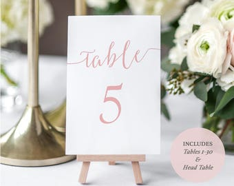 Printable Blush Pink Table Numbers - Set of Tables 1-30 - Calligraphy Style Script - Blush Wedding - Instant Download - 4x6 inches - #GD1105