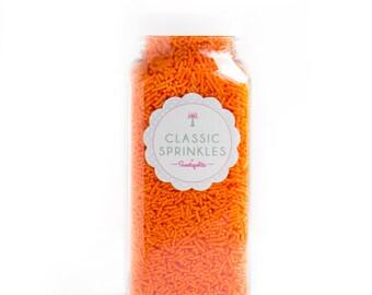 8oz (1 cup) Orange Jimmies, Gluten-Free, Vegan, Skinny Sprinkles, Orange Sprinkles, Canadian Sprinkles -- Med 8oz