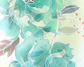 Hand Painted Silk Scarf, Japanese Silk Scarf, Handmade Scarf, Christmas Gift for Wife, Green Silk Scarf, Jade Green Peony Scarf, Silk Takuyo