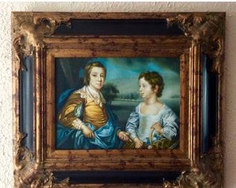Vente Antique Style peinture à l'huile Portrait de ca.18th C. jeunes enfants Royal européen famille Genre o Art encadré