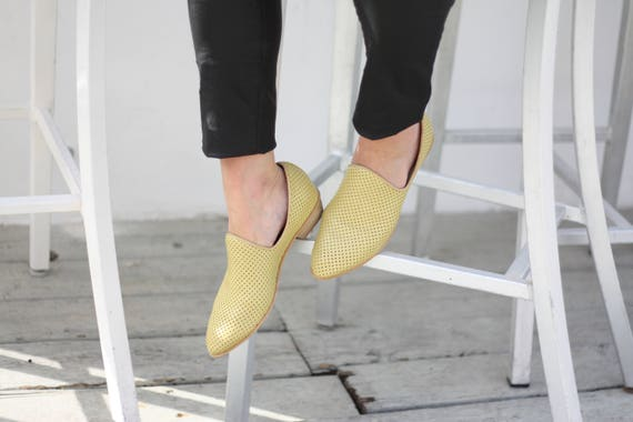 Heel Day Shoes Shoes Flat Leather Shoes Charlie Shoes Shoes Leather Pastel Every Shoe Comfortable Perforated Yellow Women Wooden ZEUWFq0xZw