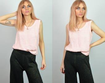Vintage Pastel Pink Sleeveless Knitted Vest Top