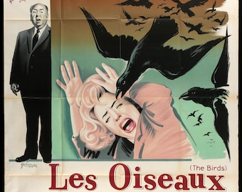 "Movie Poster - The Birds (1963) Original French Grande Movie Poster - 47"" x 63"""