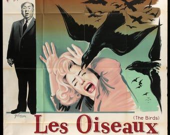 "The Birds (1963) Original French Grande Movie Poster - 47"" x 63"""