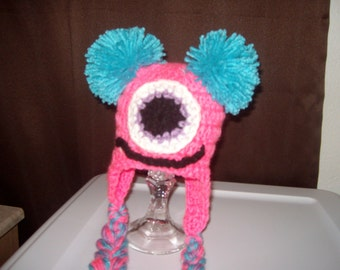 Baby Girl Hat one eyed MONSTER Newborn Baby  Hat Halloween Hat infant Halloween costume