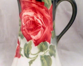 """K&G Lunéville """"Les Roses"""" Pitcher, Made in France, Red Roses, Leaves on Green and White"""