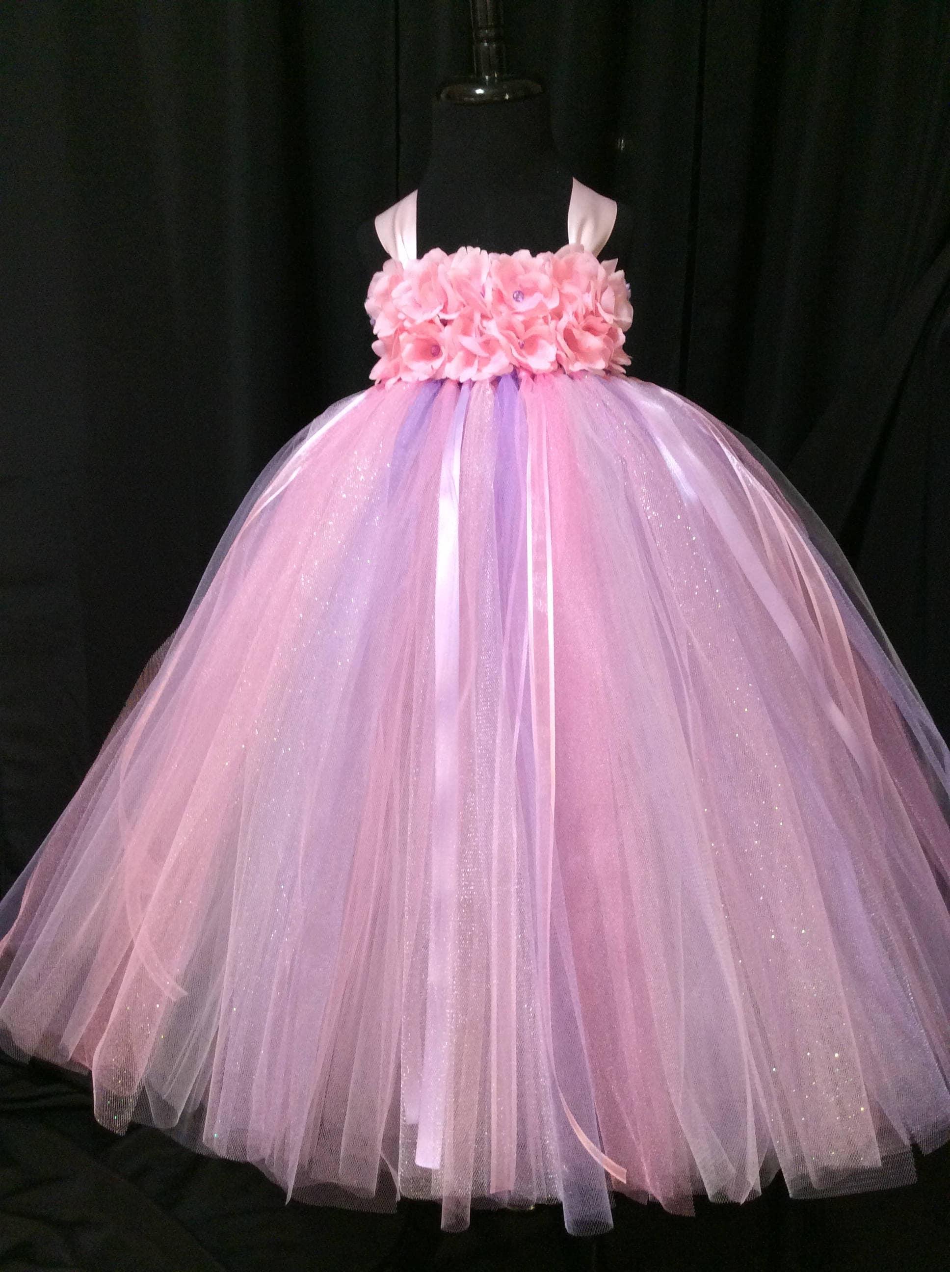 Pink & lavender princess tulle tutu dress, tutu dress for girls ...