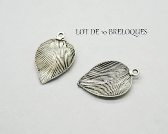 Set of 3 Silver feather (D15) leaf charms