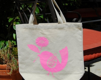 Cotton Canvas Bird Tote