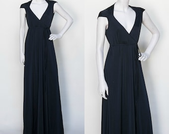 1970s Wrap Dress /// Vintage Black Disco Dress