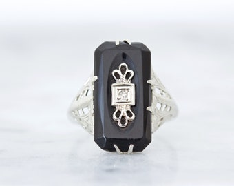 Antique Black Onyx Ring, Art Deco Ring, 1920s Filigree Cocktail Ring, Rectangle Gemstone, 14k White Gold, Unique Statement Jewelry Size 5.25