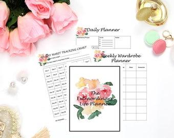Life Planner, Planner, Budget, Habit Tracker, Meal Planner, Daily Planner, Weekly Planner, Goal Planner, Home Planner, Inspiration, A4