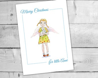 Printable Christmas card, Merriest Christmas, Download Angel card, Print your own card, Angel guardian, Christmas last minute gift