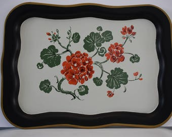 Metal Tray Black and White with Red Geranium Flowers and Green Leaves with a Gold Trimmed Boarder Vintage 1940's or 1950's