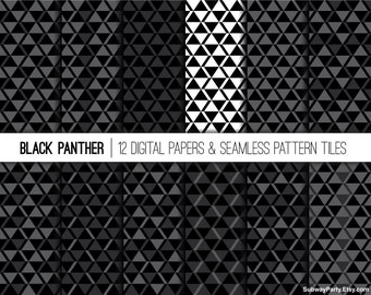 """Black Panther Seamless Patterns and Digital Papers 12""""x12"""" scrapbook & 8""""x11"""" party papers JPG. African Tribal Geo Prints. INSTANT DOWNLOAD"""