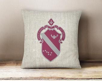 Alpha Phi Linen Crest Pillow