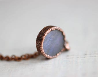 Labradorite Necklace Copper Necklace Electroformed Jewelry Round Labradorite
