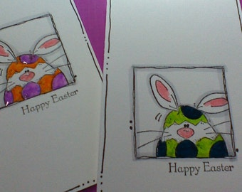 Happy Easter Card Bunny Card Easter Bunny Card Greeting Card Handmade Card Hand stamped Card GlitzGlitterandGlue