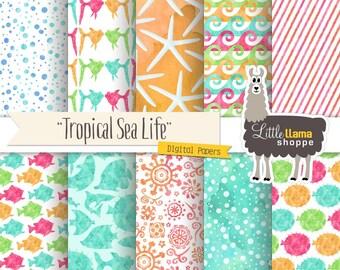 Tropical Fish Digital Paper, Watercolor Ocean Digital Backgrounds, Sea Scrapbook Paper, Watercolor Digital Paper, Commercial Use