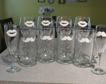 Lip and Mustache Glassware