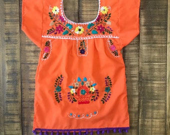 1-2T Handmade Embroidered Mexican toddler dress