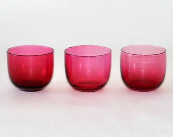Vintage Cranberry Glass Juice Glasses