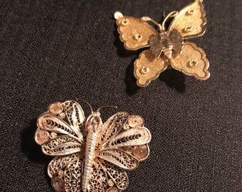 Vintage Butterfly Pins Vintage Jewelry 1960's Butterflies Set of 2