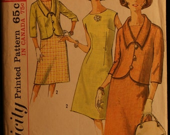 Simplicity 5827 Misses Slim Dress and Jacket Vintage 60s Sewing Pattern Size 12 Mad Men Style