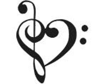 BASS TREBLE CLEF Heart Vinyl Decal Sticker Muisc Choose Size and Color Free Shipping