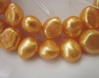 """Tangerine Orange Freshwater Pearls, 11mm x 9mm Fat Nuggets, Two 14.5"""" Strands"""