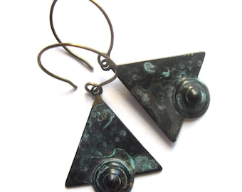 Verdigris Patina Triangle Earrings Black and Turquoise Art Deco Style Fashion Jewelry