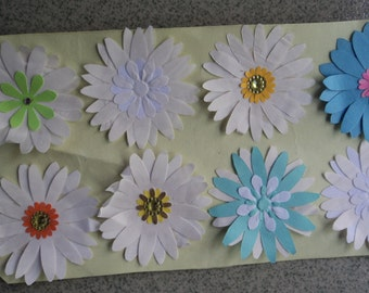 Random 20 pieces 3D daisy upcycled paper stickers