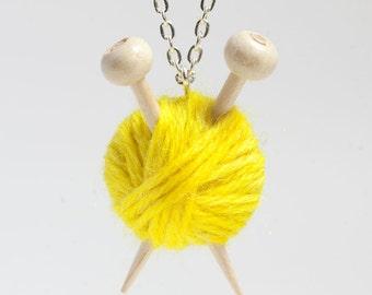 Yellow Wool Knitting Necklace - Ball of Yarn and Knitting Needles
