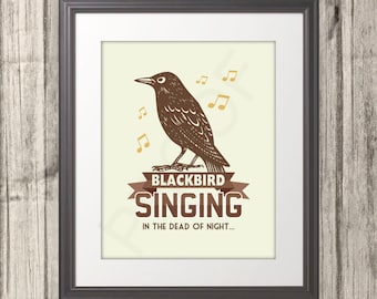 Blackbird Print, Blackbird Poster, Brown, Fall, Blackbird Art, Multiple Sizes