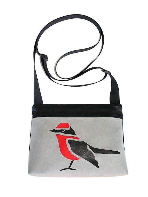 bird, red and black, grey vinyl, boxy cross body, vegan leather, zipper top