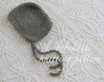 Bebeknits French Style Garter Toddler Bonnet Knitting Pattern