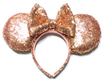 Rose Gold Sequin Mouse Ears - Rose Gold Minnie Mouse Ears Inspired - Mouse Ears Handmade - Sequin Mouse Ears - Blush Sequin Mouse Ears