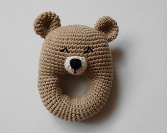Amigurumi bear rattle - handmade baby rattle