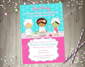 Spa Party Birthday Invitation Invite Spa Birthday Party Invitation Spa Party Invitation Spa Invite Party Printable CHOOSE YOUR GIRLS