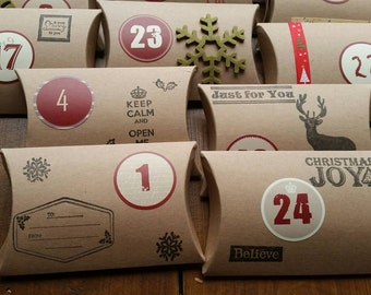 Handmade Rustic Christmas Advent Calendar x 24 Large Pillow Boxes /Sweets/Gifts/Chocolates/ Handstamped/Ribbons/
