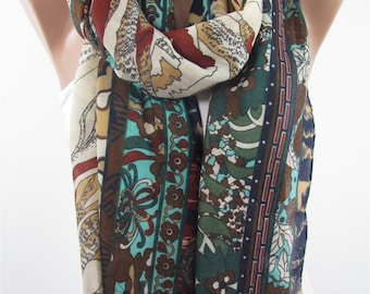 Mothers Day Gift For Her Floral Scarf Shawl Boho Scarf    Fashion Accessories Bohemian Fashion Scarf Gift For Mom Holiday clothing gift
