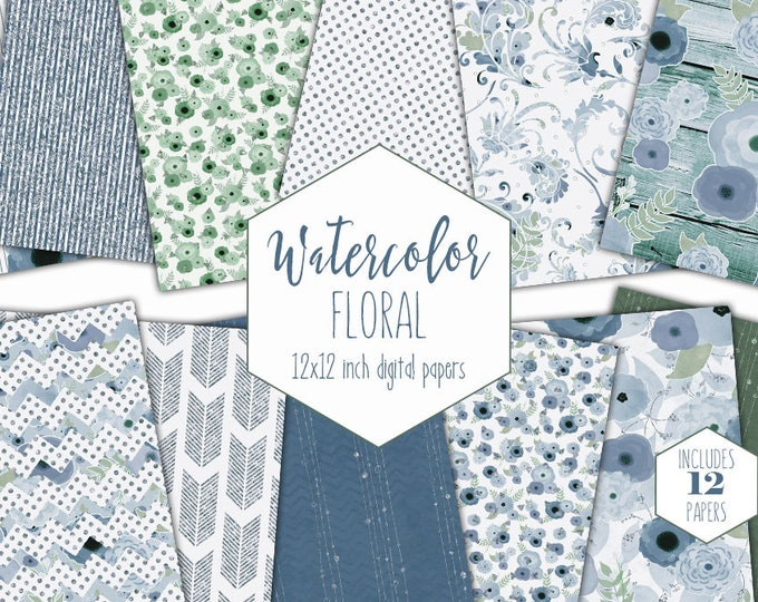 BLUE FLORAL WATERCOLOR Digital Paper Pack Gray & Blue Metallic Commercial Use Backgrounds Scrapbook Papers Boho Wood Arrows Wedding Papers