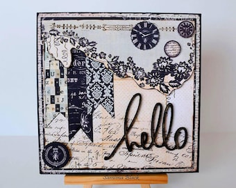 Hello Card, Friendship Card, Handmade Vintage Style Card, Vintage Card, Handmade Card, Fancy Card, Boxed Card, Card in a Box