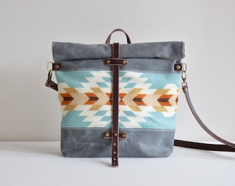 Waxed Canvas Crossbody Bag Made with  Pendleton® Wool / Waxed Canvas Bag / Waxed Canvas Purse / Messenger Bag / Southwestern Purse