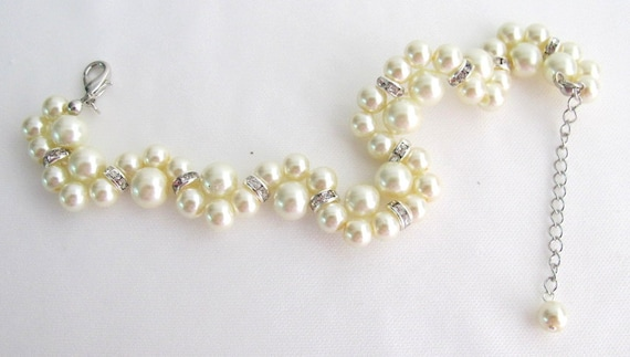 Cream Pearl Bracelet Glass Pearls Wedding Gift Bridesmaid Bracelet Earrings Bridal Jewelry Flower Girl Free Shipping In USA